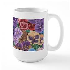 Pansies Floral Large Mug