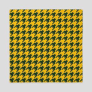 Houndstooth Checkered: Green & Yellow Queen Duvet