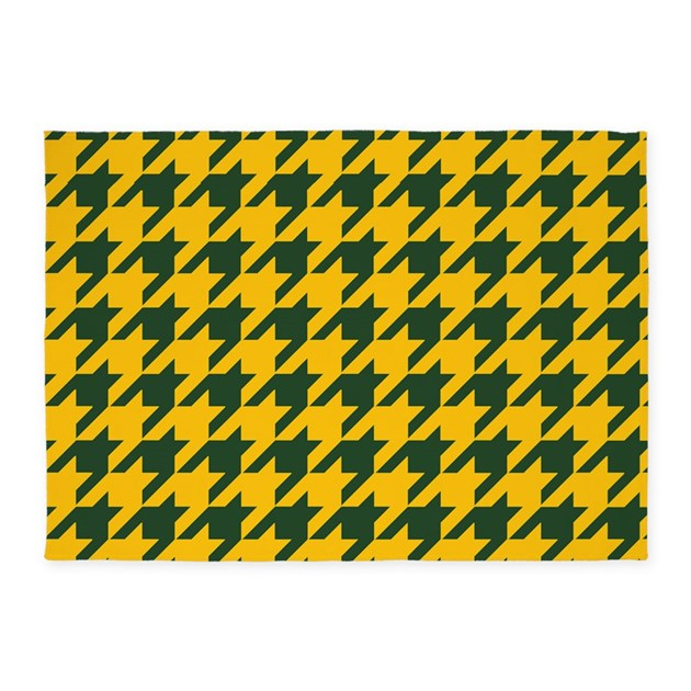 Houndstooth Checkered: Green & Yell 5'x7'Area Rug By