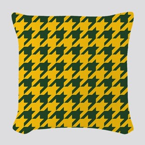 Houndstooth Checkered: Green & Woven Throw Pillow