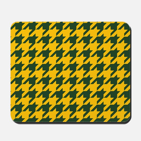 Houndstooth Checkered: Green & Yellow Mousepad