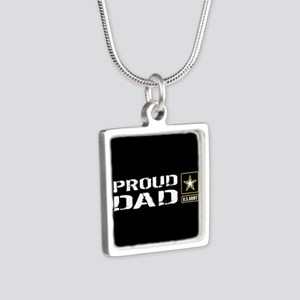 U.S. Army: Proud Dad (Blac Silver Square Necklace