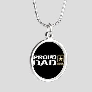 U.S. Army: Proud Dad (Black) Silver Round Necklace