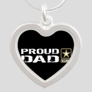 U.S. Army: Proud Dad (Black) Silver Heart Necklace