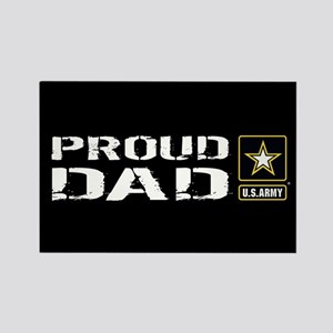 U.S. Army: Proud Dad (Black) Rectangle Magnet
