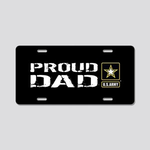 U.S. Army: Proud Dad (Black Aluminum License Plate