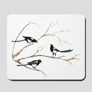 Watercolor Magpie Bird Family Mousepad