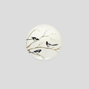 Watercolor Magpie Bird Family Mini Button