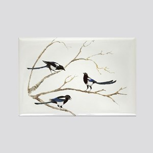 Watercolor Magpie Bird Family Magnets
