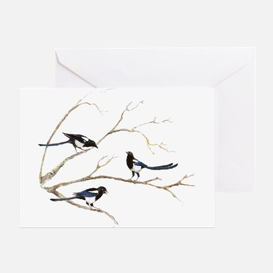 Watercolor Magpie Bird Family Greeting Cards