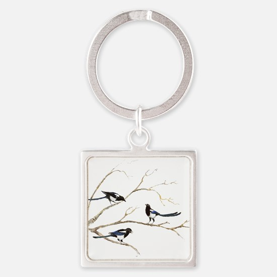Watercolor Magpie Bird Family Keychains