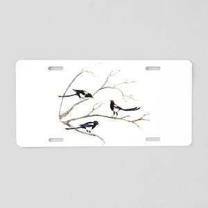 Watercolor Magpie Bird Family Aluminum License Pla