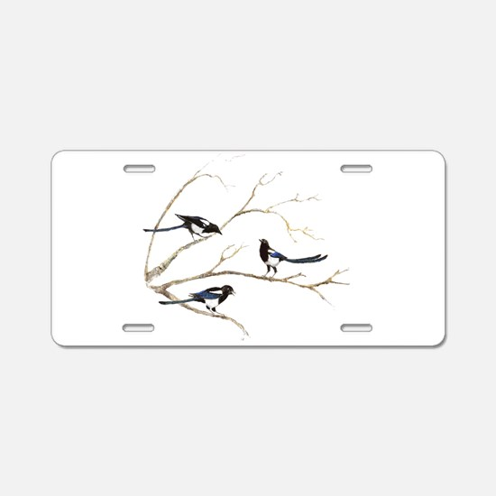 Watercolor Magpie Bird Family Aluminum License Pla