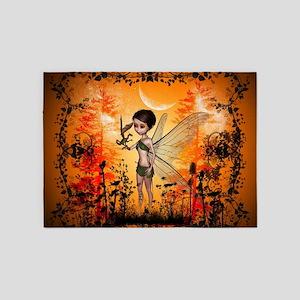 Cute fairy with little dragon 5'x7'Area Rug