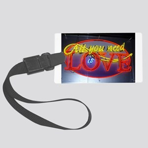 Neon All You Need Is Love Large Luggage Tag