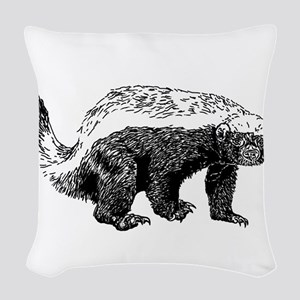 Honey Badger Poopin' Woven Throw Pillow