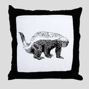 Honey Badger Poopin' Throw Pillow