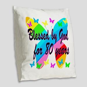 80TH BLESSING Burlap Throw Pillow