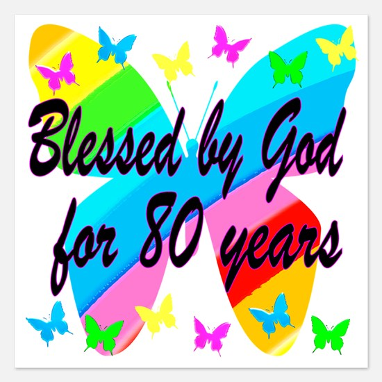 80TH BLESSING 5.25 x 5.25 Flat Cards