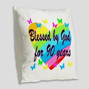 90TH PRAYER Burlap Throw Pillow
