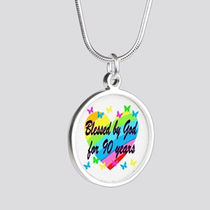 90TH PRAYER Silver Round Necklace
