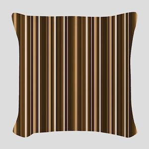 Brown Stripes Woven Throw Pillow