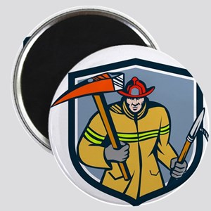 Fireman Firefighter Fire Axe Hook Crest Retro Magn