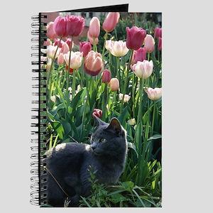 Journal: kitten in tulips