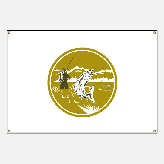 Fly Fisherman Reeling Trout Circle Retro Banner
