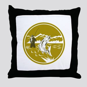 Fly Fisherman Reeling Trout Circle Retro Throw Pil