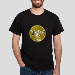 Fly Fisherman Reeling Trout Circle Retro T-Shirt