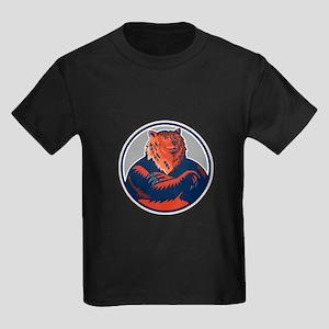 Russian Bear Arms Folded Circle Retro T-Shirt