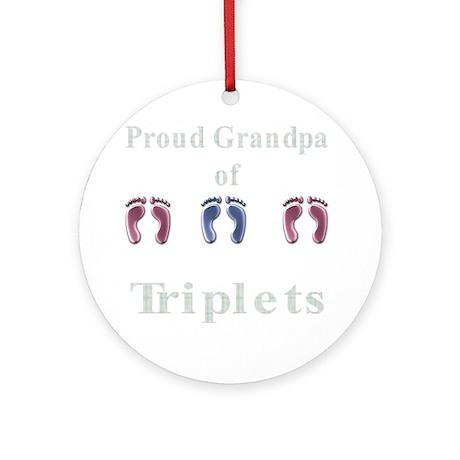 Proud Grandpa of Triplets Ornament (Round)