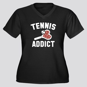 Tennis Addict Women's Plus Size V-Neck Dark T-Shir