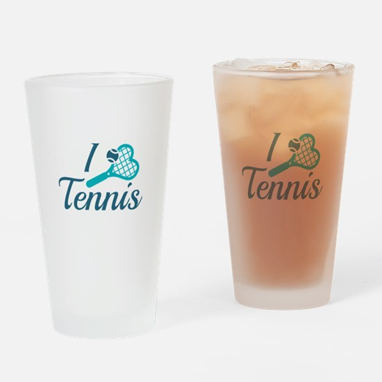 I Love Tennis Drinking Glass