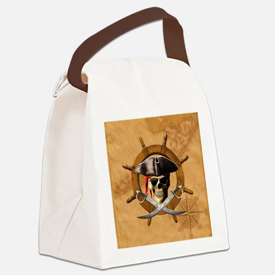 Jolly Roger Pirate Wheel Canvas Lunch Bag