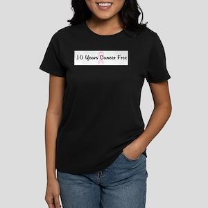 10 Years Cancer Free pink rib T-Shirt