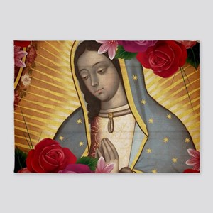 Virgin of Guadalupe with Roses 5'x7'Area Rug