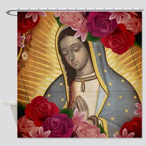Virgin of Guadalupe with Roses Shower Curtain