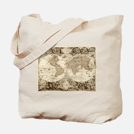 Vintage Map of The World (1702) 3 Tote Bag
