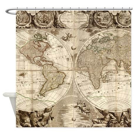 Vintage Map Of The World 1702 3 Shower Curtain By ADMIN CP17960464