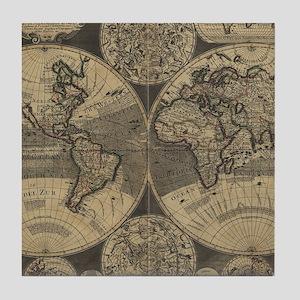 Vintage Map of The World (1702) 3 Tile Coaster