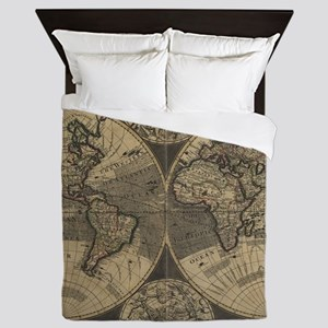 Vintage Map of The World (1702) 3 Queen Duvet
