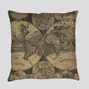 Vintage Map of The World (1702) 3 Everyday Pillow
