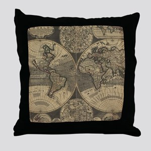 Vintage Map of The World (1702) 3 Throw Pillow