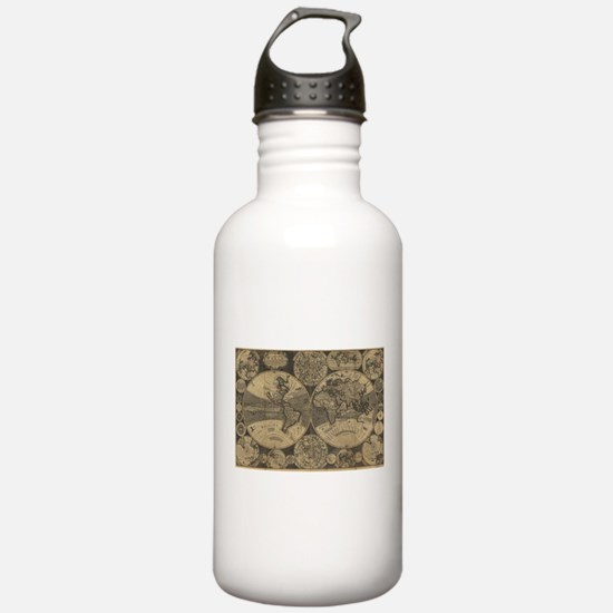 Vintage Map of The Wor Water Bottle