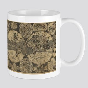 Vintage Map of The World (1702) 3 Mugs