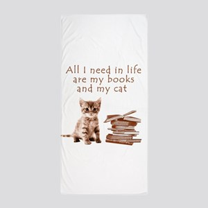 Cats and books Beach Towel