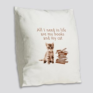 Cats and books Burlap Throw Pillow