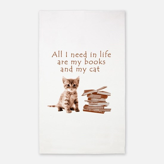 Cats and books Area Rug